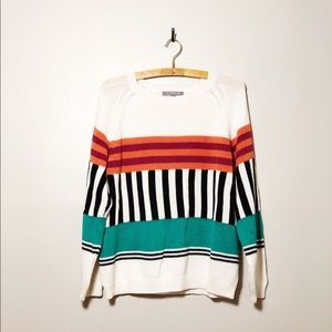 NY Collection Geometric Vintage Look Sweater